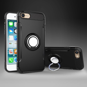 2-in-1 Magnetic Ring TPU PC Hybrid Phone Case with Kickstand for iPhone 8/7/SE 2 (2020) - Black