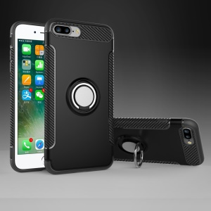 Magnetic Car Mount Ring Holder Kickstand TPU + PC Hybrid Case for iPhone 8 Plus / 7 Plus 5.5 inch - Black