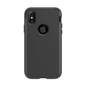Rubberized Drop-proof 3-in-1 Plastic+Silicone Back Phone Case for iPhone X (Ten) 5.8 inch - Black
