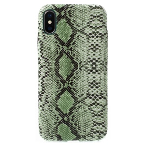 Snake Texture PU Leather Coated PC Phone Cover for iPhone X 5.8 Inch - Green