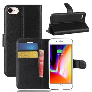 Litchi Skin Wallet Leather Magnetic Protective Cover for iPhone SE (2nd generation)/8/7 4.7 inch - Black