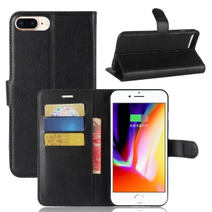 Lychee Skin Leather Wallet Case for iPhone 8 Plus / 7 Plus - Black