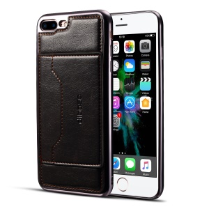 Leather Coated Plated TPU Card Holder Phone Casing Cover with Kickstand for iPhone 8 Plus / 7 Plus 5.5 inch - Black