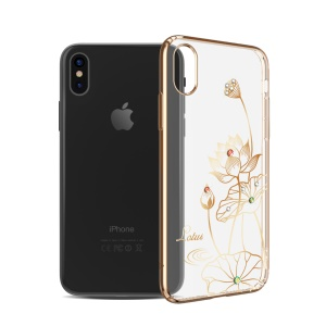 KINGXBAR Authorized Swarovski Crystal Plated PC Back Cover Case for iPhone X(Ten) 5.8 Inch - Lotus