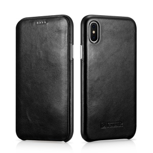 ICARER Curved Edge Vintage Genuine Leather Phone Case for iPhone X/10 5.8 Inch - Black