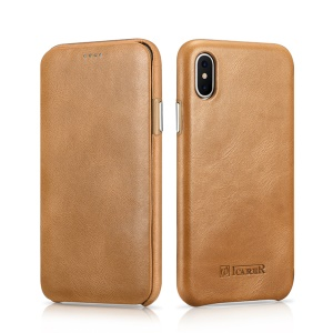 ICARER Curved Edge Vintage Genuine Leather Mobile Casing for iPhone X 5.8 Inch - Khaki