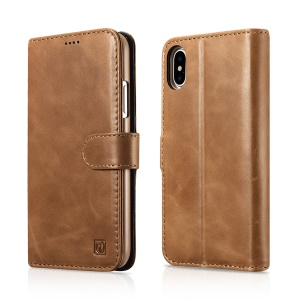 ICARER Removable 2-in-1 Genuine Leather Wallet Stand Mobile Case for iPhone X/10 5.8 inch - Brown