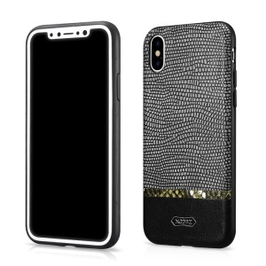 XOOMZ Snake Texture Glitter PU Leather Shell for iPhone X - Black