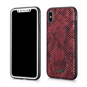 XOOMZ Snake Texture PU Leather Coated TPU Back Cover for iPhone X(Ten) 5.8 inch - Red