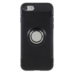 Hybrid PC TPU 360 Degree Rotating Ring Kickstand Cover for iPhone 8 / 7 4.7 inch - Black