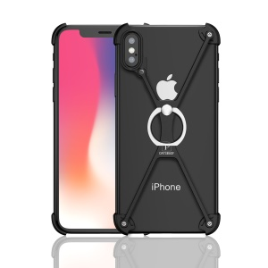 OATSBASF Laser Carving X Shaped Aluminium Alloy Frame Bumper with Grip Ring for iPhone X/10 5.8 inch - Black