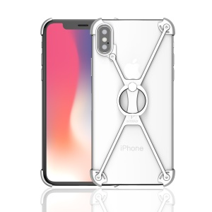 OATSBASF Laser Carving X Shaped Aluminium Alloy Frame Bumper Case with Kickstand for iPhone X(Ten) 5.8 inch - Silver