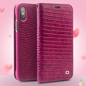 QIALINO Crocodile Texture Top Layer Cowhide Leather Wallet Case for iPhone X  / Xs 5.8 inch- Rose