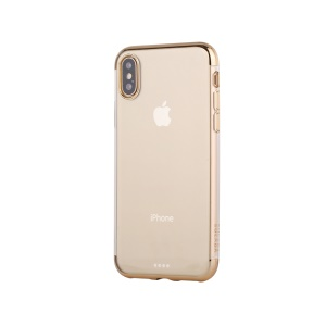 SULADA Crystal Clear Plating TPU étui de protection pour iPhone X (Ten) 5,8 pouces - Or