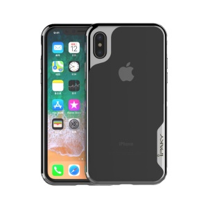 IPAKY Yuyan Series Plated PC Frame + Clear TPU Back Case para iPhone X - negro