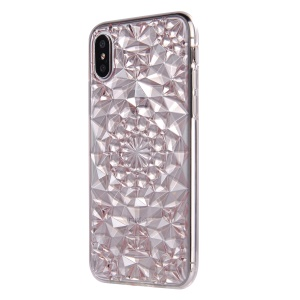 SULADA 3D Diamond Pattern Glittery TPU Shell Case for iPhone X - Pink