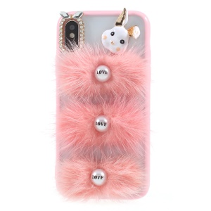 3D Rabbit Girlish Rhinestone Fur PC TPU Back Case for iPhone X/XS - Pink