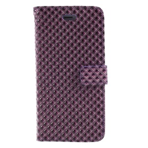 Rhombus Pattern Wallet Leather Mobile Phone Case for iPhone 8 Plus / 7 Plus - Purple