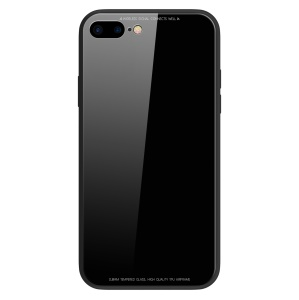 SULADA Tempered Glass Case for iPhone 8 Plus/7 Plus 5.5 inch Drop-proof Hybrid Back Case - Black
