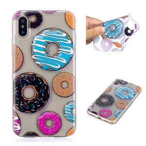 Pattern Printing IMD TPU Gel Case for iPhone XS/X 5.8 inch - Doughnut Pattern
