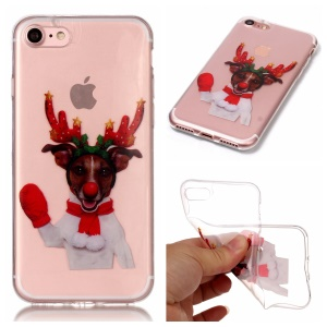 Christmas Series IML Soft TPU Back Phone Case for iPhone 8 / 7 - Dog Wearing Elk Horn Headwear