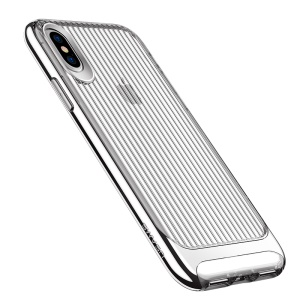 USAMS Senior Series Wave Texture TPU+PC Protection Mobile Cover Case for iPhone X (Ten) 5.8 inch - Silver
