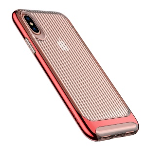 USAMS Senior Series Wave Texture TPU+PC Protective Case Accessory for iPhone X (Ten) 5.8 inch - Red