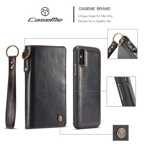 CASEME Detachable 2-in-1 Split Leather Wallet Phone Case for iPhone X/10 5.8 inch - Black