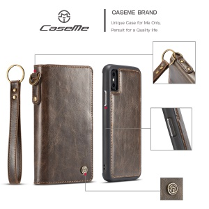 CASEME Split Leather Wallet Cover + Detachable PC TPU Hybrid Case for iPhone X/10 5.8 inch - Coffee