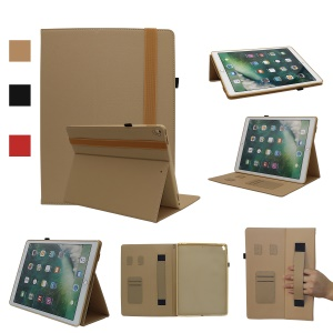 Litchi Texture Stand Leather Protective Case with Card Slots for iPad Pro 12.9 (2017) - Gold