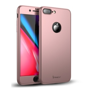 IPAKY Full Protection PC Hard Phone Casing + Tempered Glass Screen Protector for iPhone 8 Plus - Rose Gold