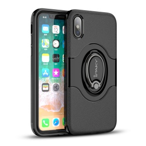 IPAKY PC + TPU Hybrid Case with Ring Holder Stand for iPhone X - Black