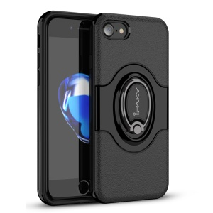 IPAKY PC + TPU Hybrid Case with Ring Holder Stand for iPhone 8/7 4.7 inch - Black