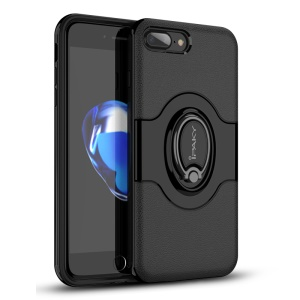 IPAKY PC + TPU Hybrid Case with Ring Holder Stand for iPhone 8 Plus / 7 Plus - Black