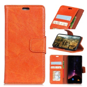 Textured Split Leather Wallet Cover Case for iPhone X - Orange