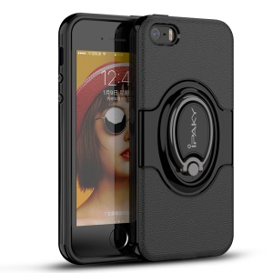 IPAKY PC + TPU Hybrid Case with Ring Holder Stand for iPhone SE/5s/5 - Black