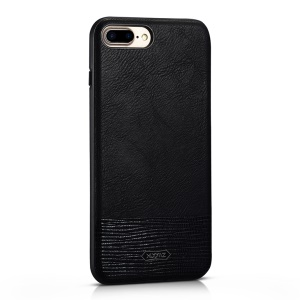 XOOMZ Stitched Embossed Silk Texture PU Leather Coated TPU Back Casing for iPhone 8 Plus 5.5 inch - Black