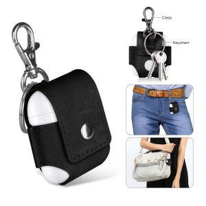 Anti-lost Leather Protection Cover with Keychain for Apple Airpods Charging Case - Black