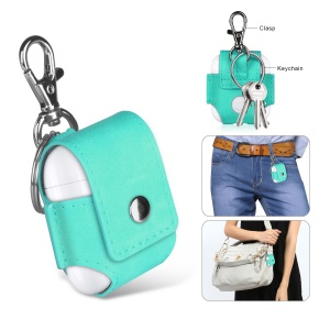 Portable Leather Anti-lost Cover Case for Apple Airpods Charging Case - Cyan