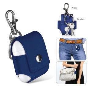 For Apple Airpods Charging Case Portable Leather Anti-lost Pouch with Keychain - Blue