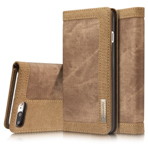 CASEME 006 Canvas Cloth Texture Wallet  Leather Mobile Phone Shell for iPhone 8 Plus / 7 Plus 5.5 inch - Brown