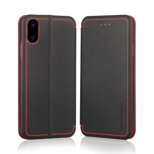 PIERRE CARDIN Genuine Leather Shell Type Protective Case for iPhone X / Ten 5.8 inch - Black