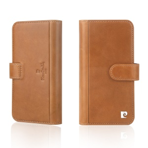 PIERRE CARDIN Genuine Leather Flip Case with 10 Card Slots for iPhone X - Brown