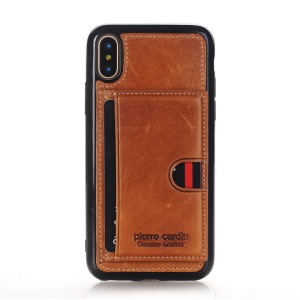 PIERRE CARDIN for iPhone X(Ten) Genuine Leather Coated Card Slot TPU Phone Case with Kickstand - Brown