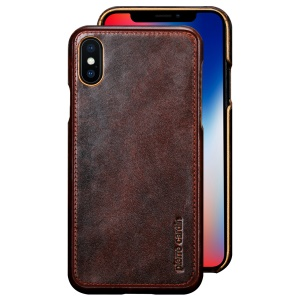 PIERRE CARDIN for iPhone X/10 5.8 inch Genuine Leather Coated PC Mobile Phone Shell - Coffee
