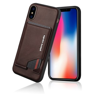 PIERRE CARDIN for iPhone XS / X 5.8 inch Genuine Leather Coated TPU Stand Mobile Shell - Coffee