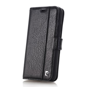 PIERRE CARDIN for iPhone X Genuine Leather Wallet Stand Case PCL-P05 - Black