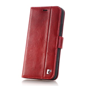 PIERRE CARDIN for iPhone X Genuine Leather Wallet Stand Cover PCL-P05 - Red