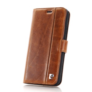 PIERRE CARDIN for iPhone X Genuine Leather Wallet Stand Shell PCL-P05 - Brown