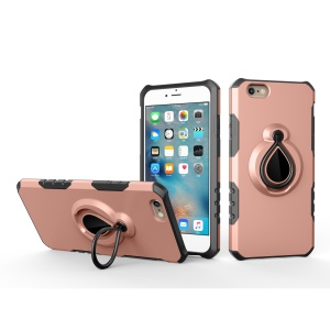 For iPhone 6s/6 Ring Kickstand Hybrid PC TPU Phone Case Built-in Magnetic Metal Sheet - Rose Gold